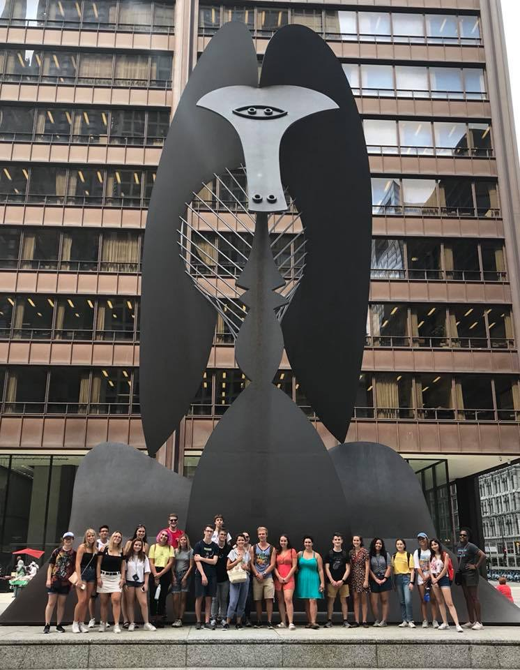 Students in front of Picasso Sculpture, Fall 2019